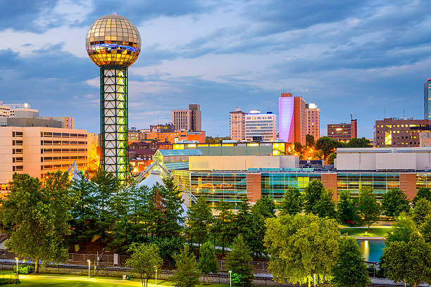 Knoxville, Tennessee, USA Knoxville, Tennessee, USA city skyline at World's fair Park. tennessee stock pictures, royalty-free photos & images