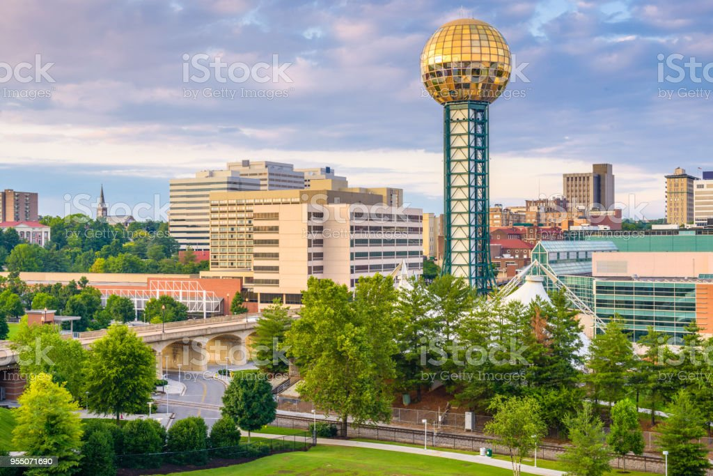 Knoxville, Tennessee, USA Skyline Knoxville, Tennessee, USA downtown skyline at twilight. Aerial View Stock Photo
