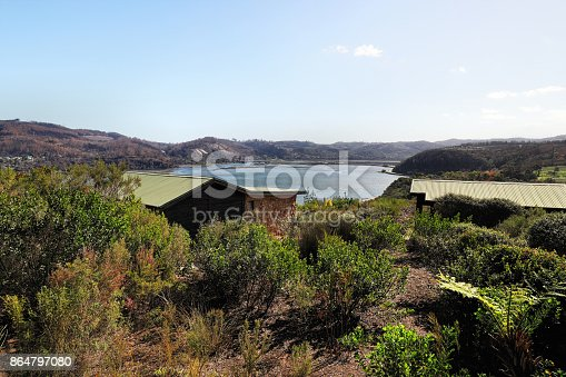View from a mountain over Knysna Bay, South Africa