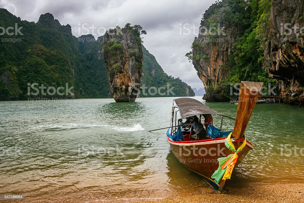 Ko Tapu rock on James Bond Island, Phang Nga Bay, stock photo