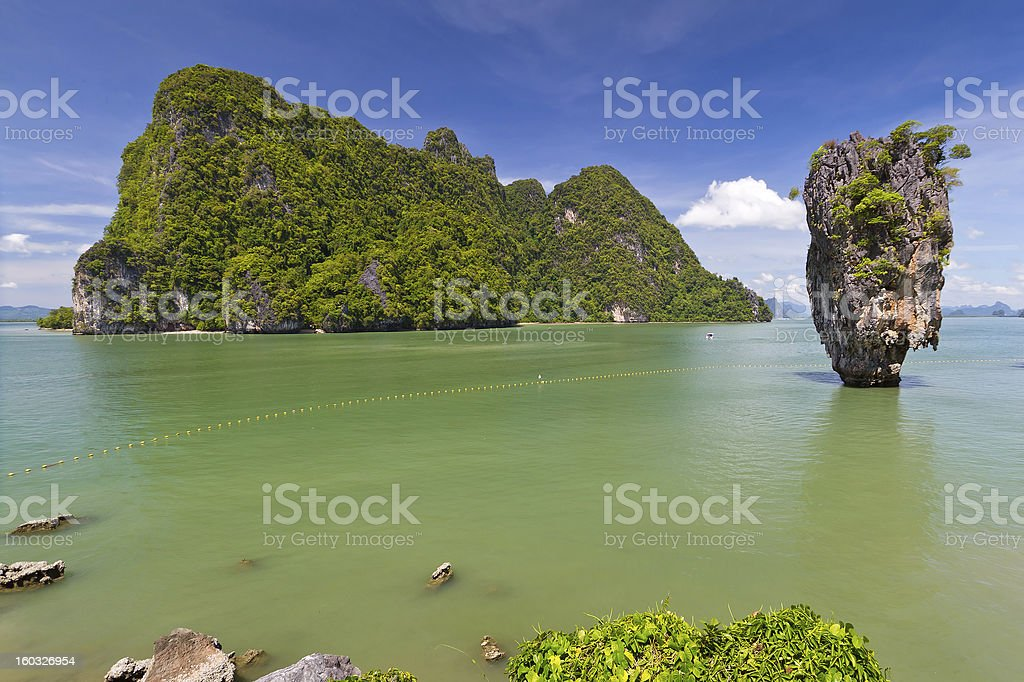 Ko Tapu rock on James Bond Island stock photo