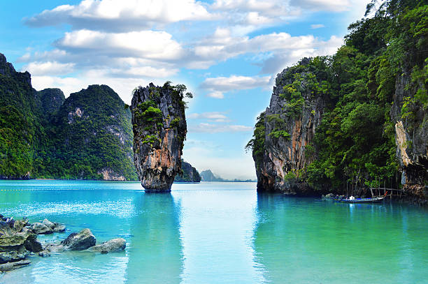 Ko Tapu rock on James Bond Island, Thailand stock photo
