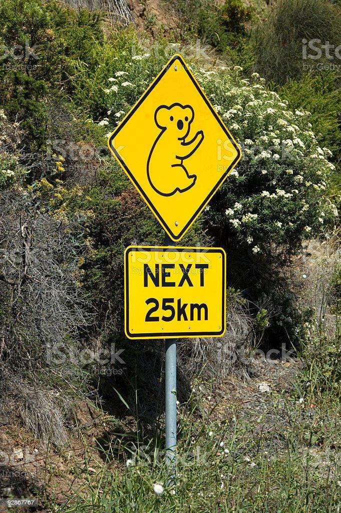 Koalas Next 25km - Australian Sign royalty-free stock photo