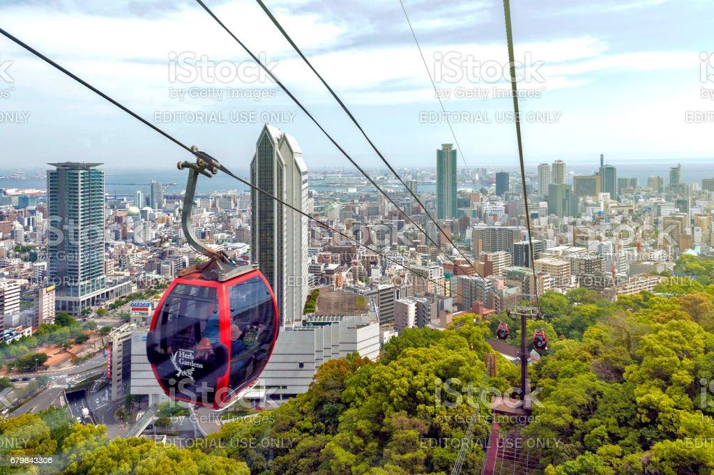 Kobe cityscape and skyscraper seen from ropeway to Nunobiki Herb Garden on Mount Rokko in Kobe, Japan stock photo