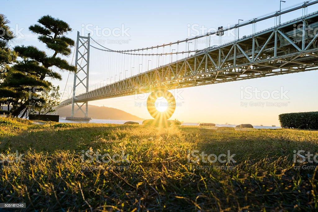 Kobe, Japan at the Akashi Kaikyo Ohashi Bridge stock photo