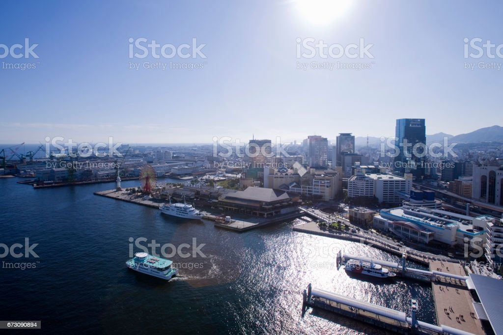 Kobe Mosaic Garden And Tour Boat Stock Photo - Download