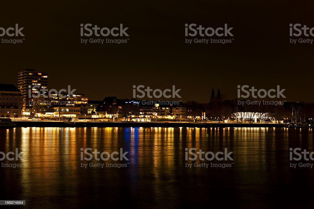 Koblenz at the Rhine by Night royalty-free stock photo