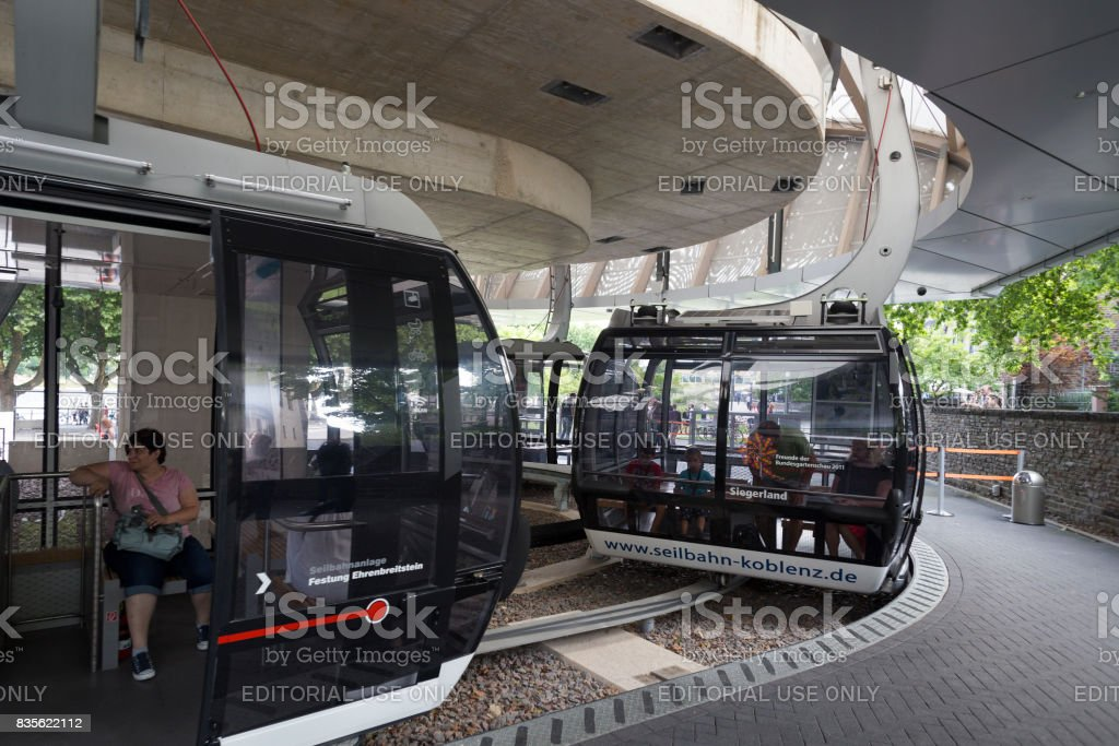 Koblenz cable car station with cars stock photo
