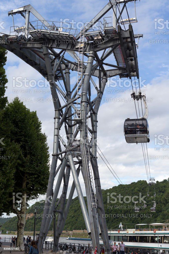 Koblenz cable car tower and car stock photo