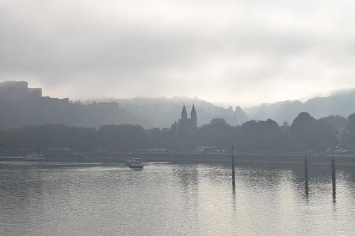 Koblenz in morning fog