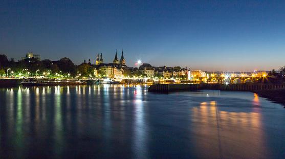 Koblenz with Mosel at night Rhineland-Palatinate Germany