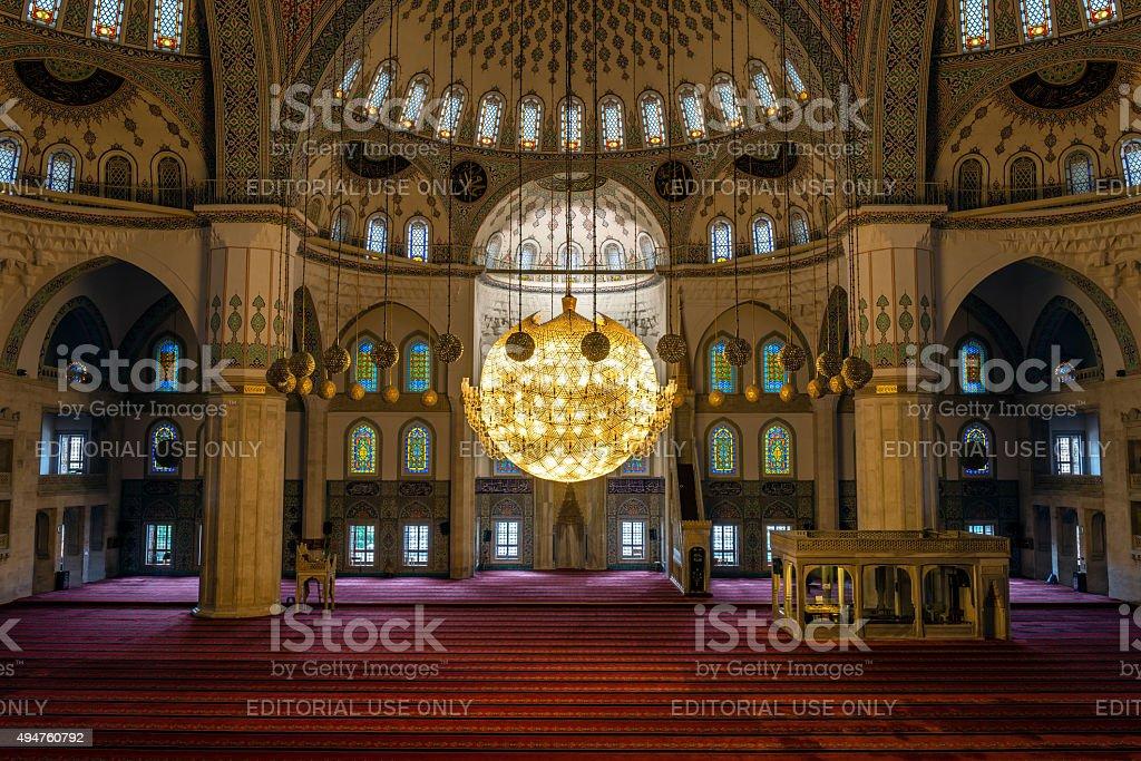 Kocatepe Mosque interior in Ankara, Turkey stock photo