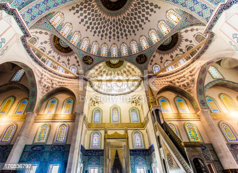 Inside view of domes of Kocatepe mosque in Ankara - Turkey.