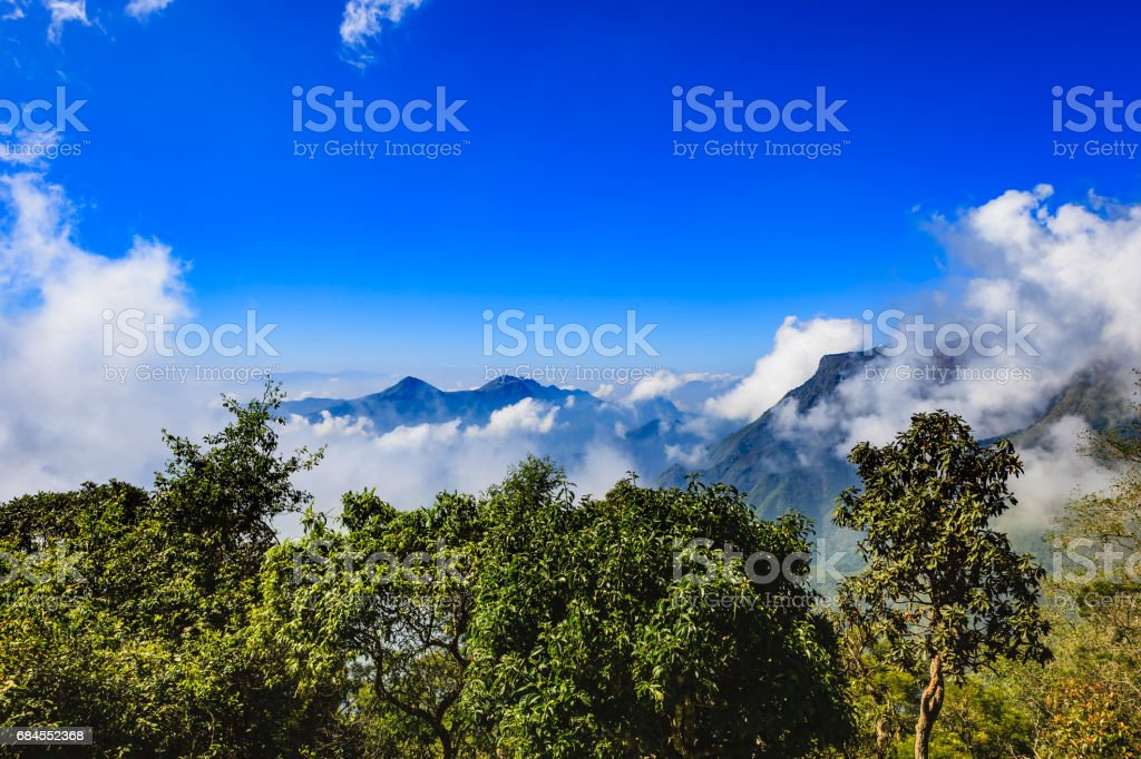 Kodaikanal, India - View of the Palni Hills shrouded in mist stock photo