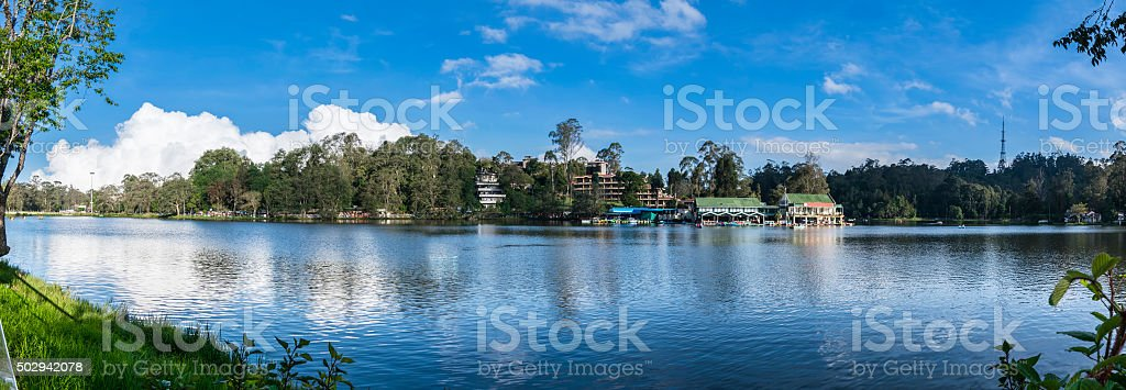 Kodaikanal Lake Panorama (Princess of Hill stations), Tamil Nadu, India stock photo