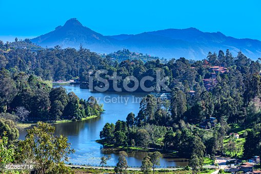 It is about half past seven in the morning in the Hill Station of Kodaikanal, in the South Indian state of Tamil Nadu. The town and the Lake were created by the British during the colonial period.  It was created as an alternative for Oothacamandalam, or Ooty as it is popularly known.  Perumal Peak can be seen clearly in the distance, to the left of the photo which was shot in the morning sunlight; horizontal format. Copy space.