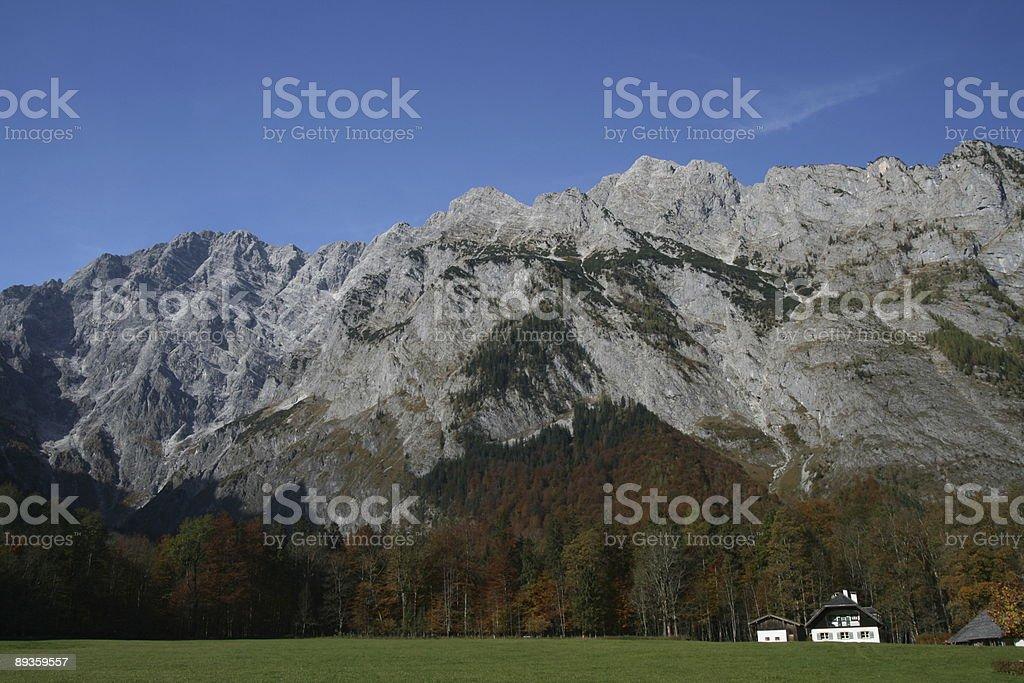 Koenigssee Great Mountains in Autumn royalty free stockfoto