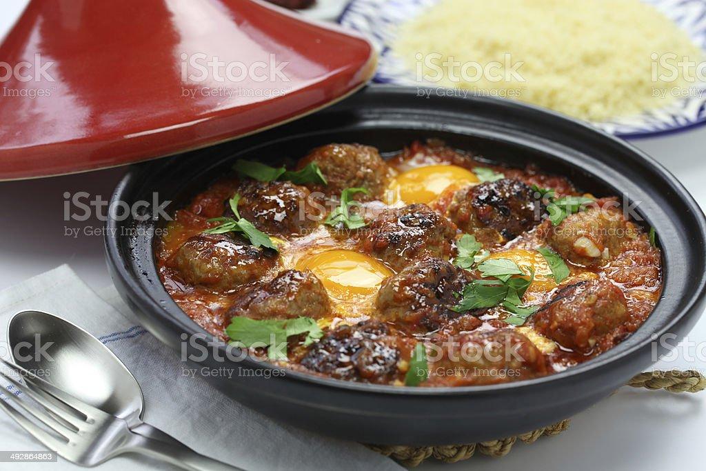 kofta tajine, kefta tagine, moroccan cuisine stock photo