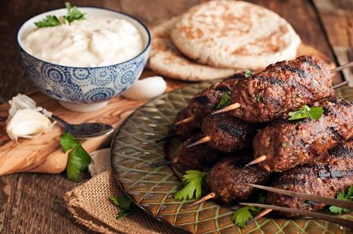 Lamb kababs with cool sauce and pita
