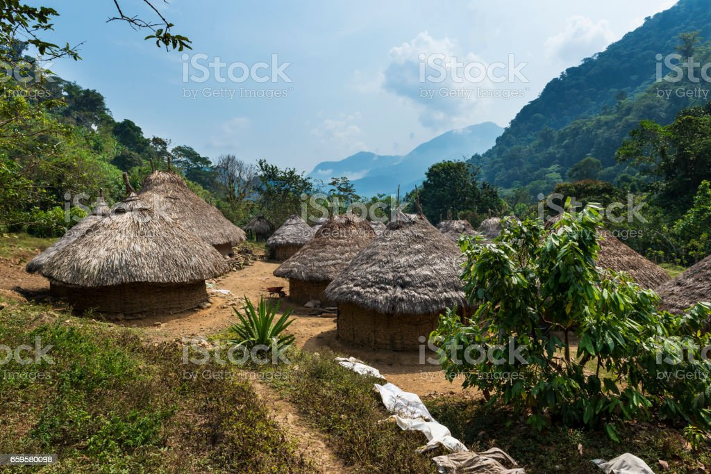 Kogi village in the forest in the Sierra Nevada de Santa Marta in Colombia – Foto