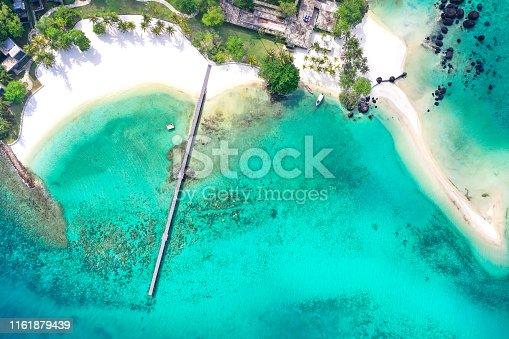 Koh kham from drone view, wooded bridge in Koh Kood island, Trat sea, Thailand