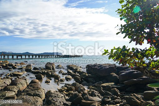 koh kood island, south of thailand, pier blue water sea sand stones mangrove forest, ship