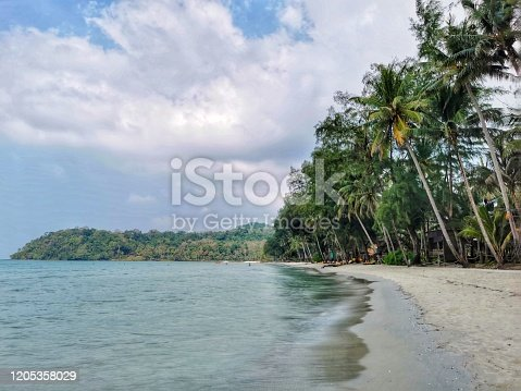 A shot of Klong Chao beach in  Koh Kut (Koh Kood), Thailand. This beach has beautiful blue seas and pillowy white sand.