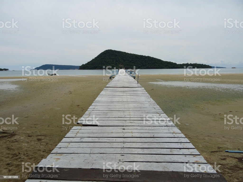 Koh Rong Samloen idillic beach in Cambodia stock photo