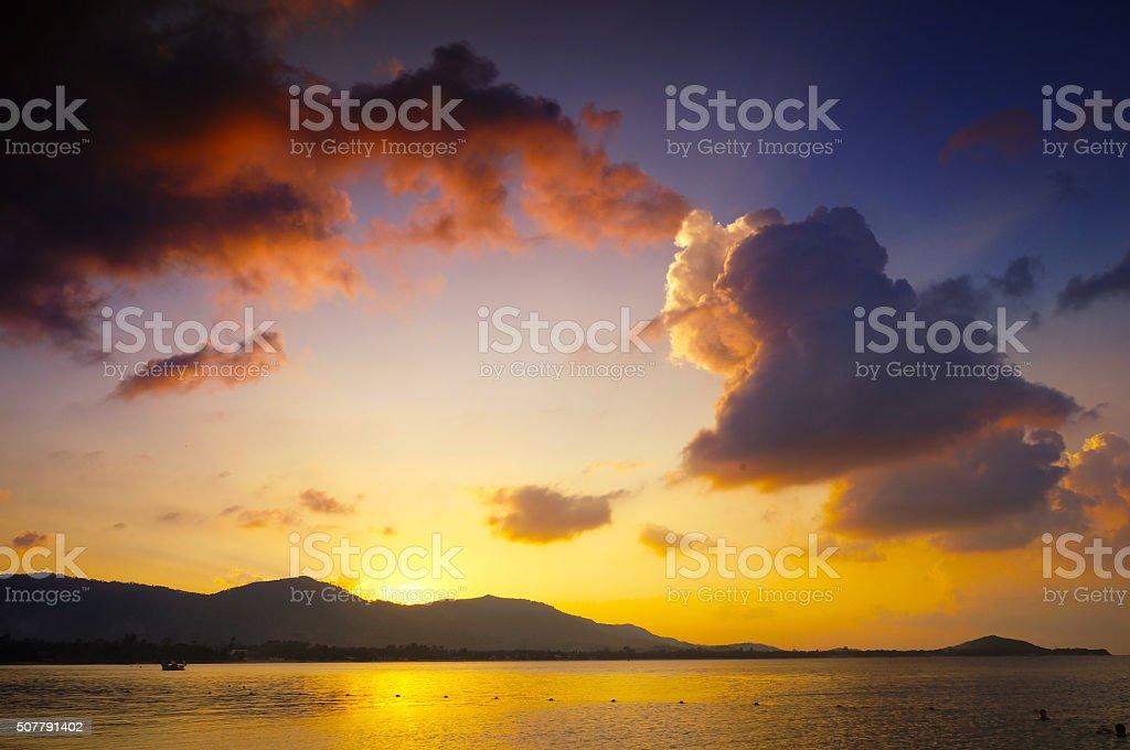 Koh Samui sunset, Chaweng stock photo