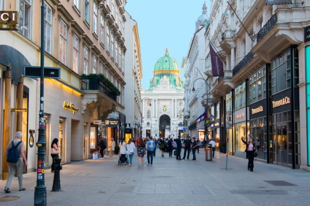 kohlmarkt street in center of vienna, austria - vienna stock photos and pictures