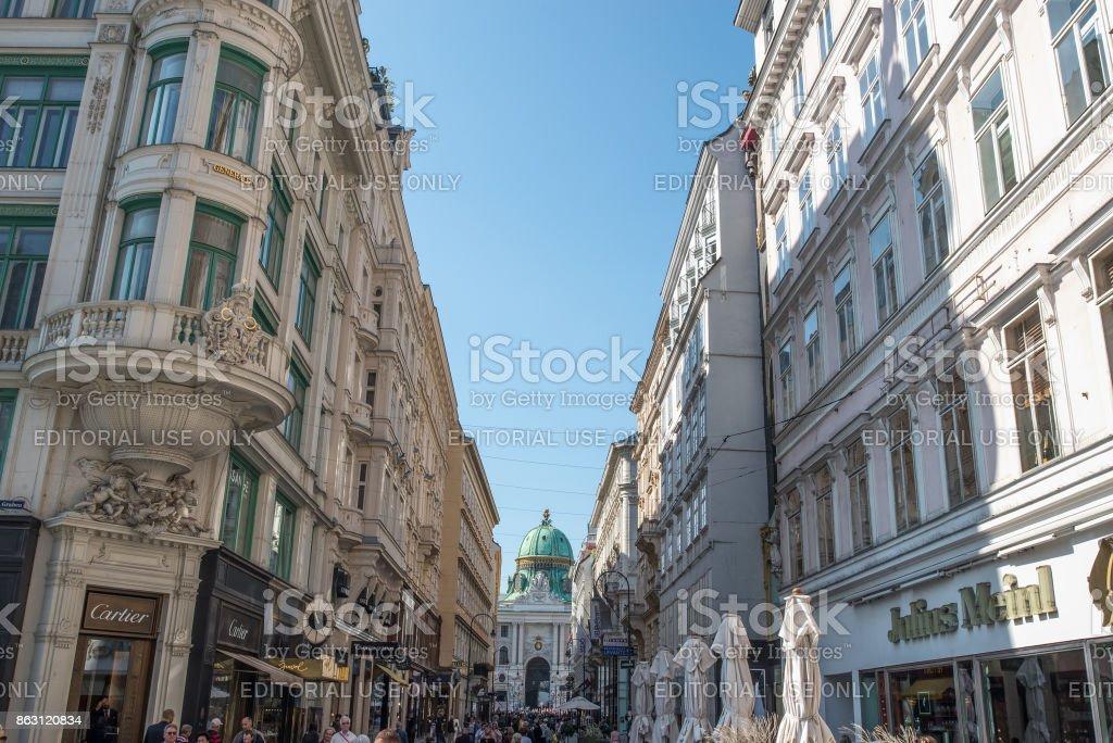 Kohlmarkt street with Hofburg Complex in Vienna stock photo