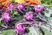 Kohlrabi and carrots from farmers market