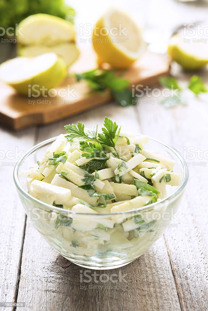 Kohlrabi (turnip) salad with apples and  sour cream stock photo