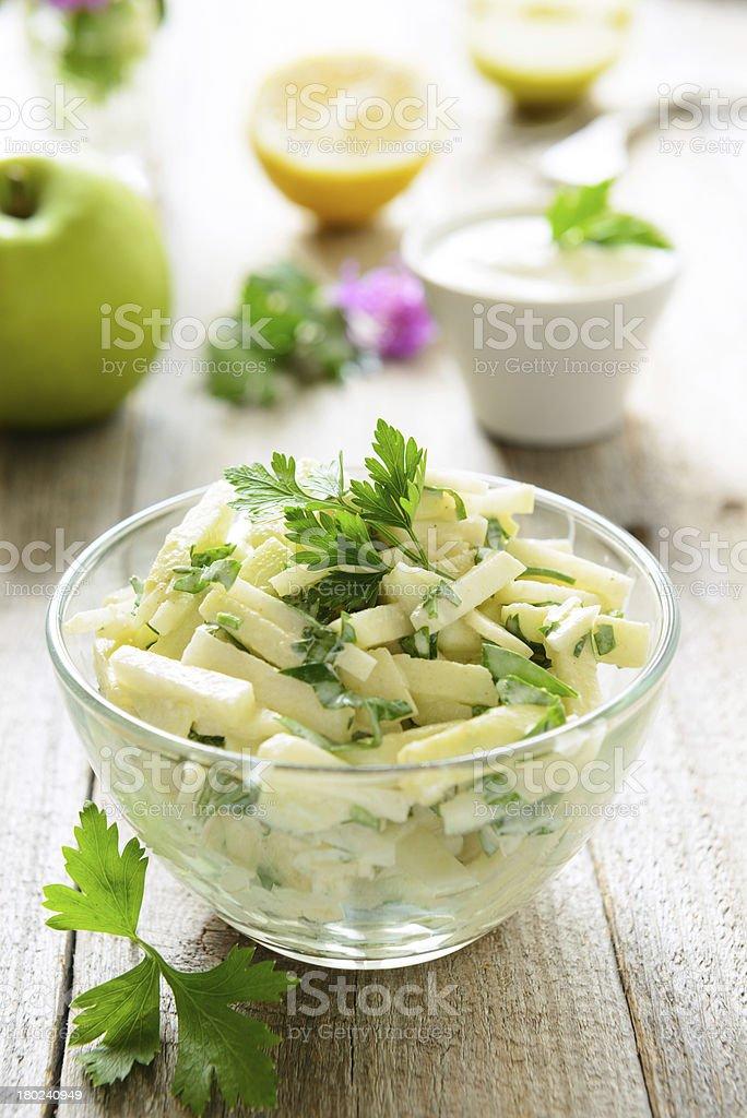 Kohlrabi (turnip) salad with apples stock photo