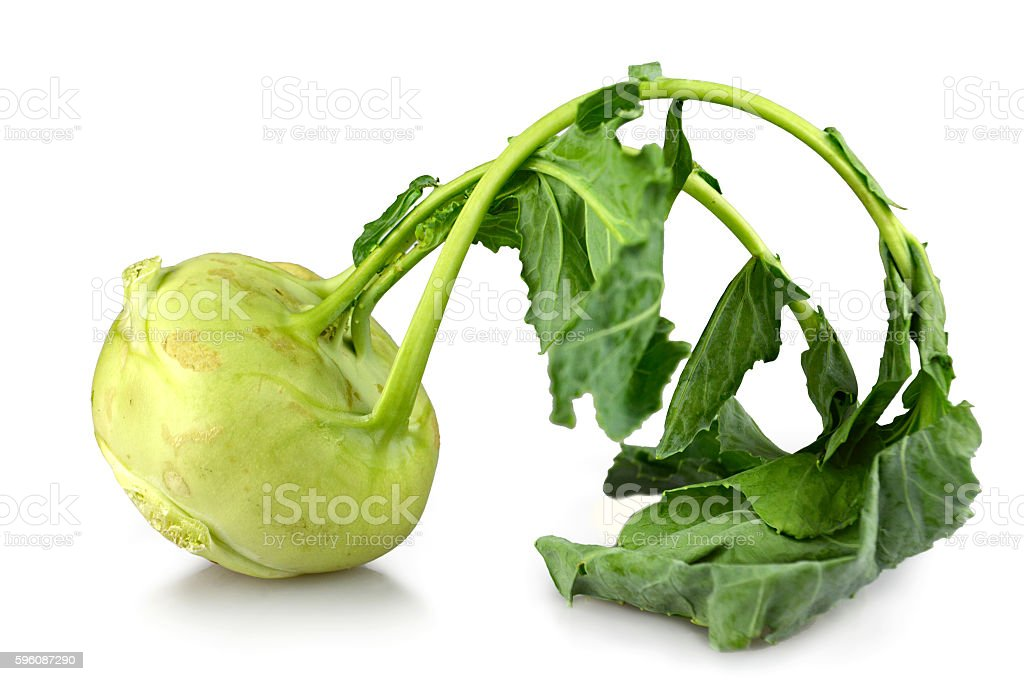 Kohlrabi with leaves isolated on white background royalty-free stock photo
