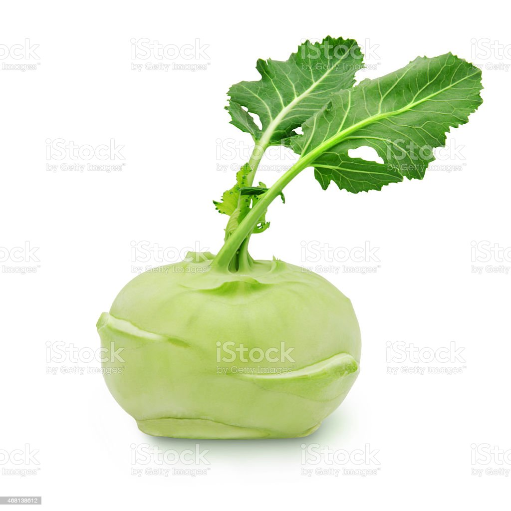 Kohlrabi with leaves on isolated white backround stock photo