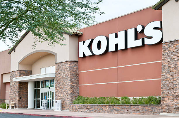 Kohl's Retail Department Store Front with Sign and Trees stock photo