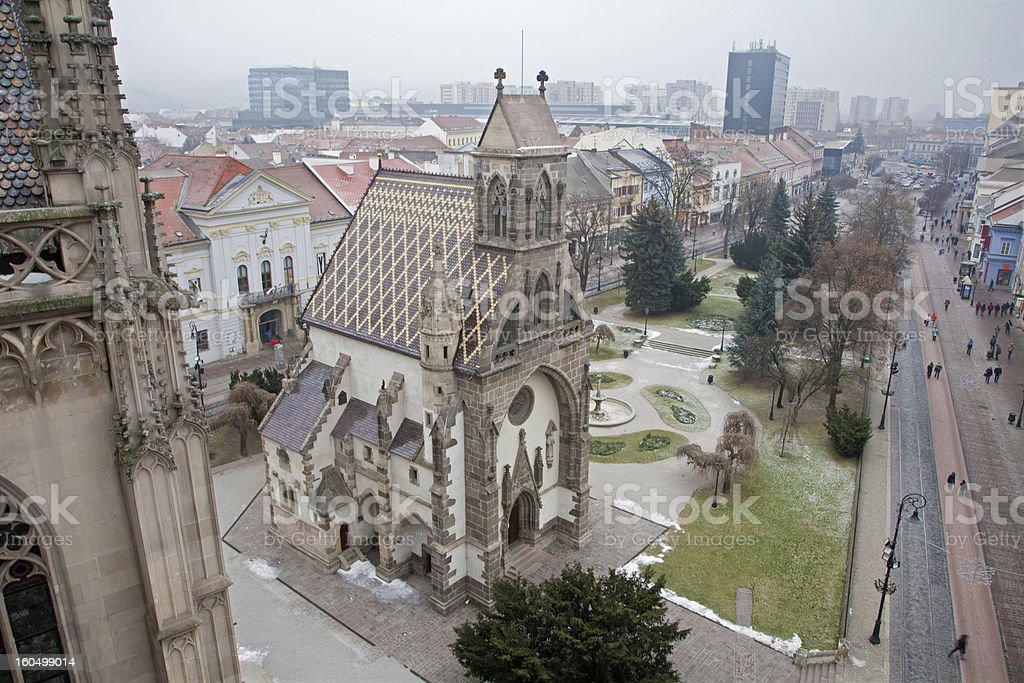 Košice - Outlook from cathedral to Saint Michaels chapel stock photo