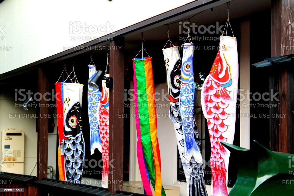 Koinobori, carp flyers hung on the occasion of children's day stock photo