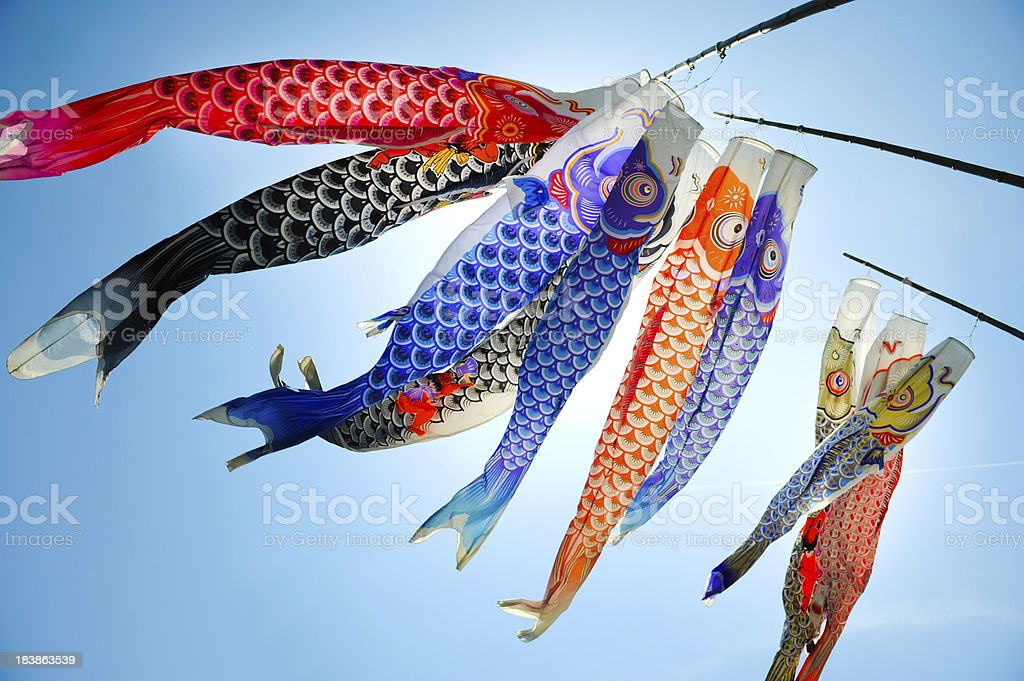 Koinobori (koi shaped japanese kite) stock photo