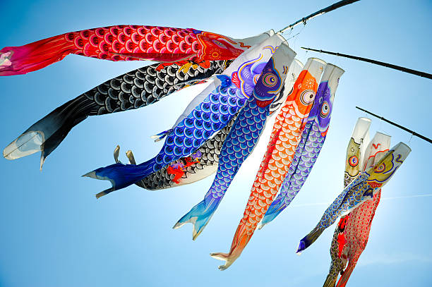 koinobori (koi shaped japanese kite) - japanese culture stock pictures, royalty-free photos & images