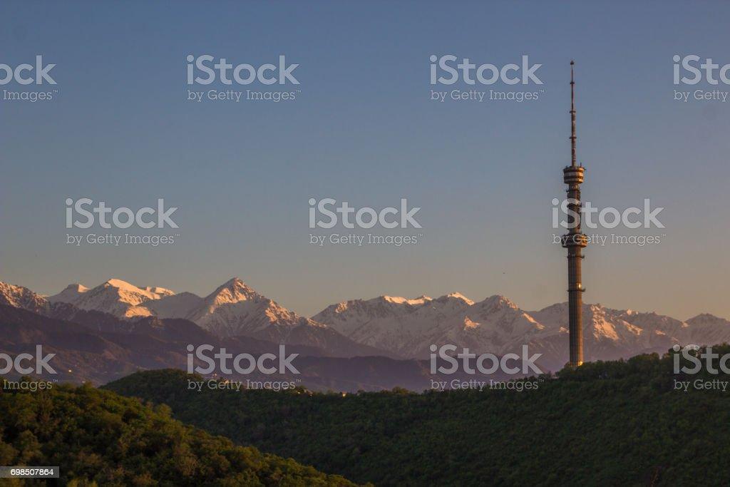 Kok Tobe hill and mountains view in spring, Almaty, Kazakhstan stock photo