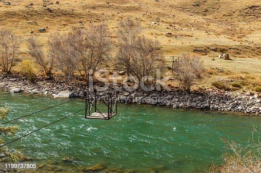 Kokemeren river, Djumgal Kyrgyzstan, river crossing, ferry across the mountain river