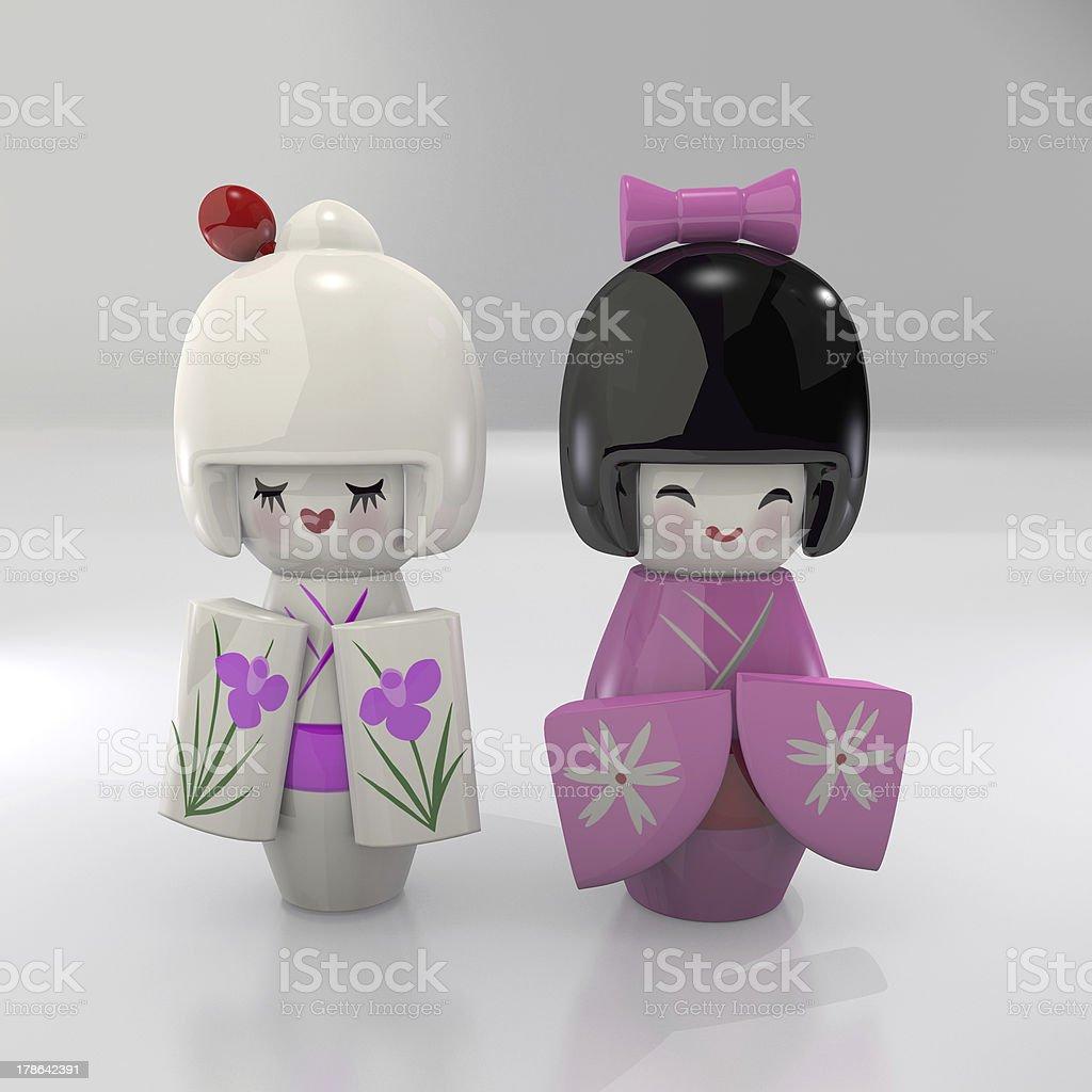 Kokeshi Geisha Dolls stock photo