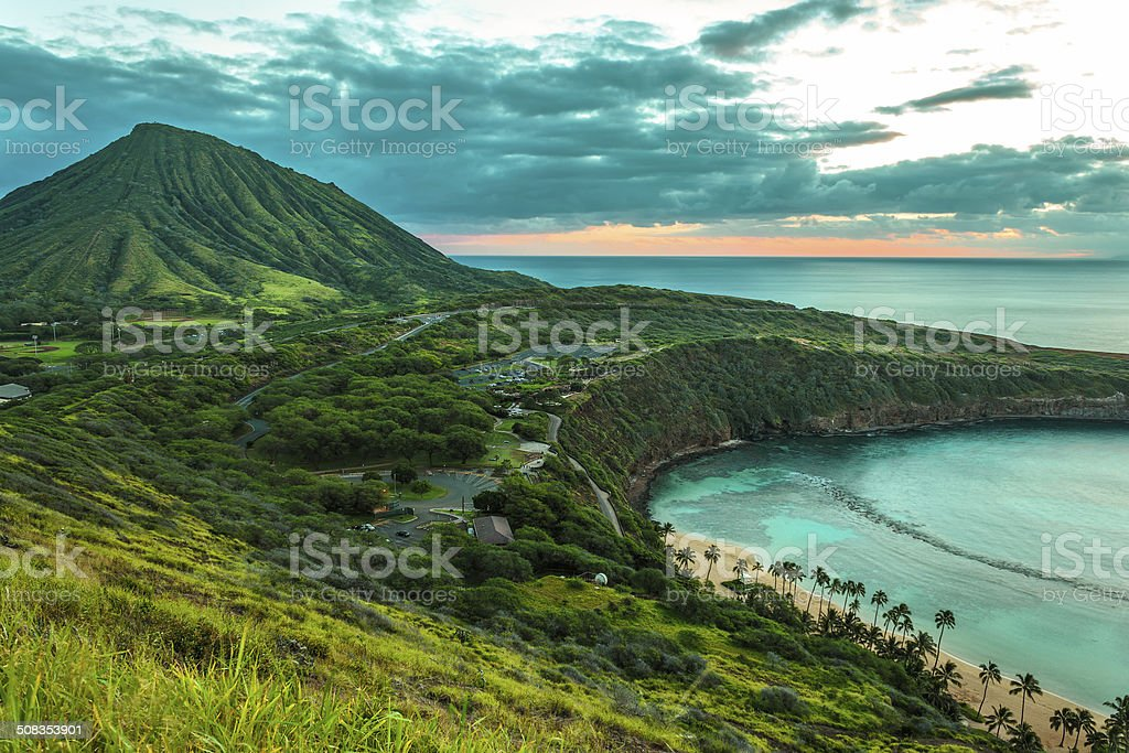Koko Head Crater and Hanauma Bay stock photo