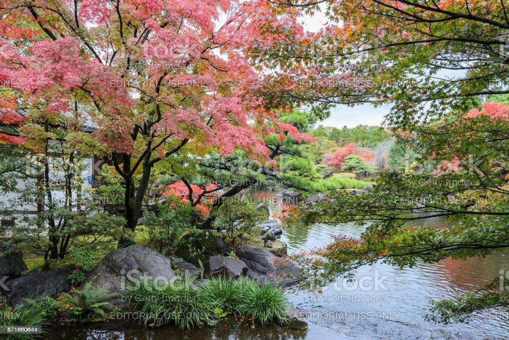 Kokoen, traditionellen japanischen Garten während der Herbstsaison in Himeji, Japan – Foto
