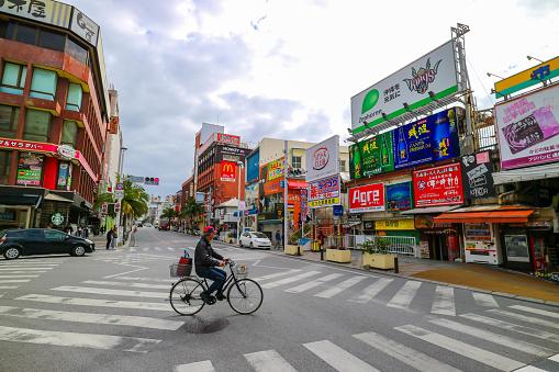 Kokusai Dori Street Okinawa Japan Stock Photo - Download Image Now