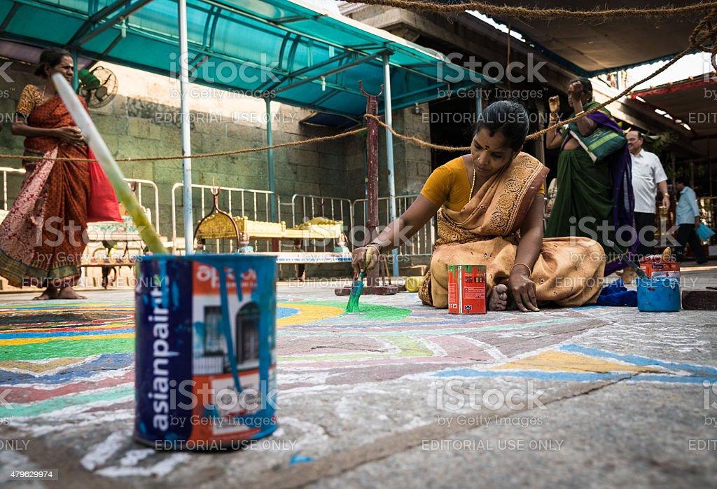Kolam painting, Tamil Nadu, India stock photo