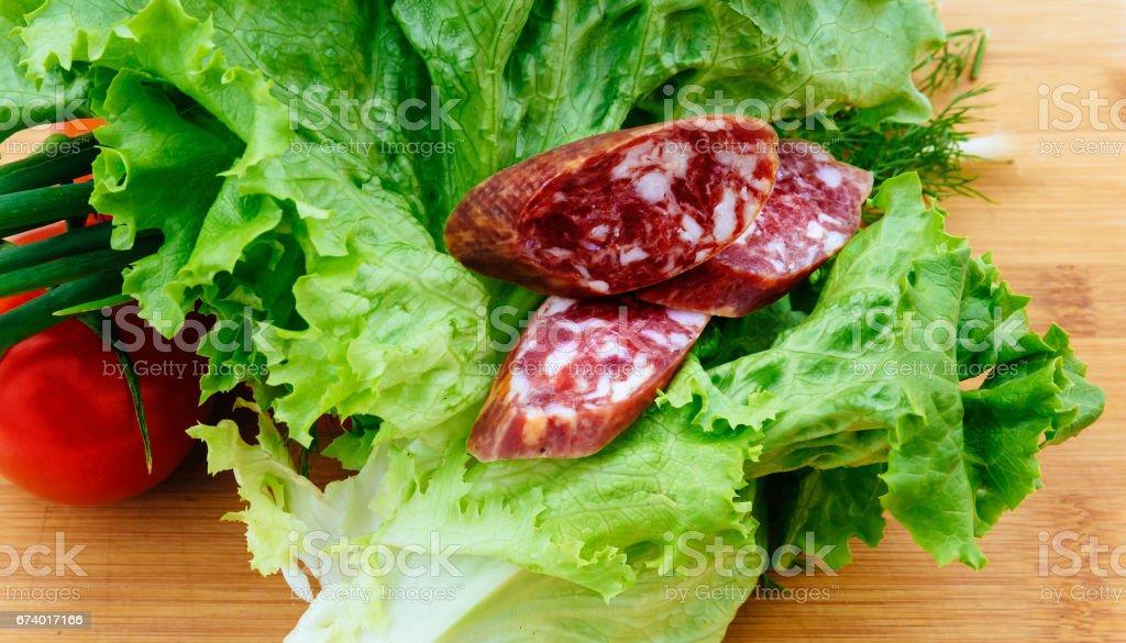 kolbasz delicatessen meal roll tomato royalty-free stock photo