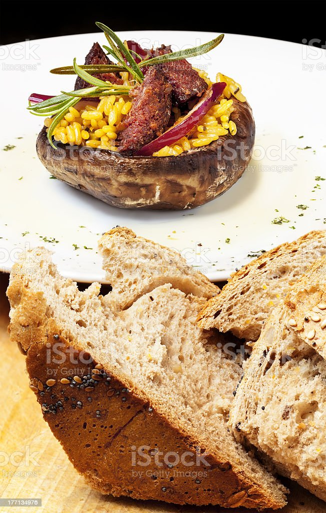 Kolbasz Stuffed Mushroom royalty-free stock photo